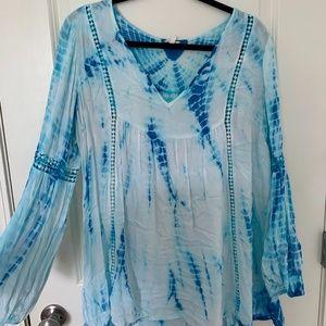 Blue Boho Dip Dye Shirt